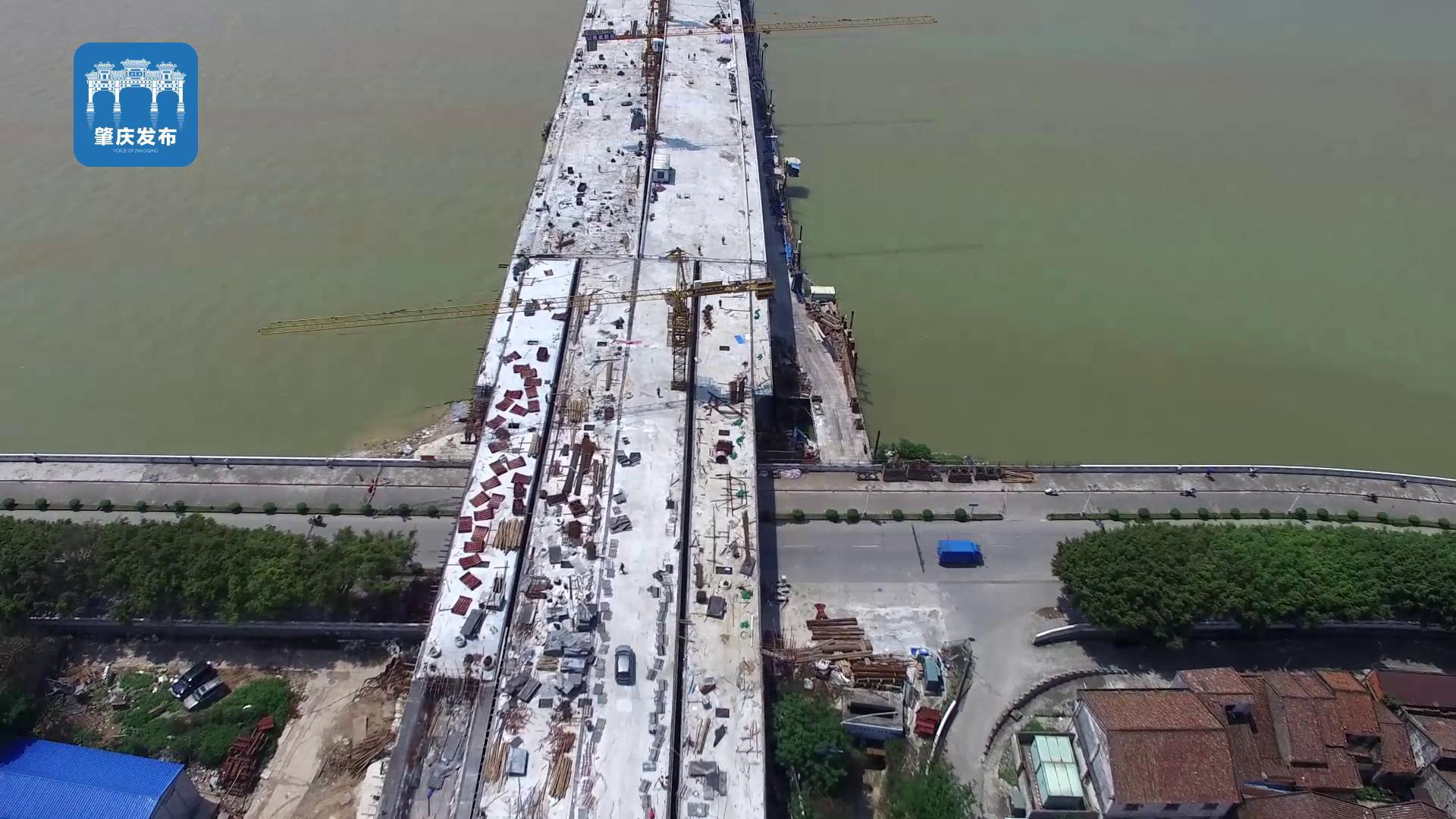 肇庆阅江大桥全线结构贯通航拍(肇庆发布)