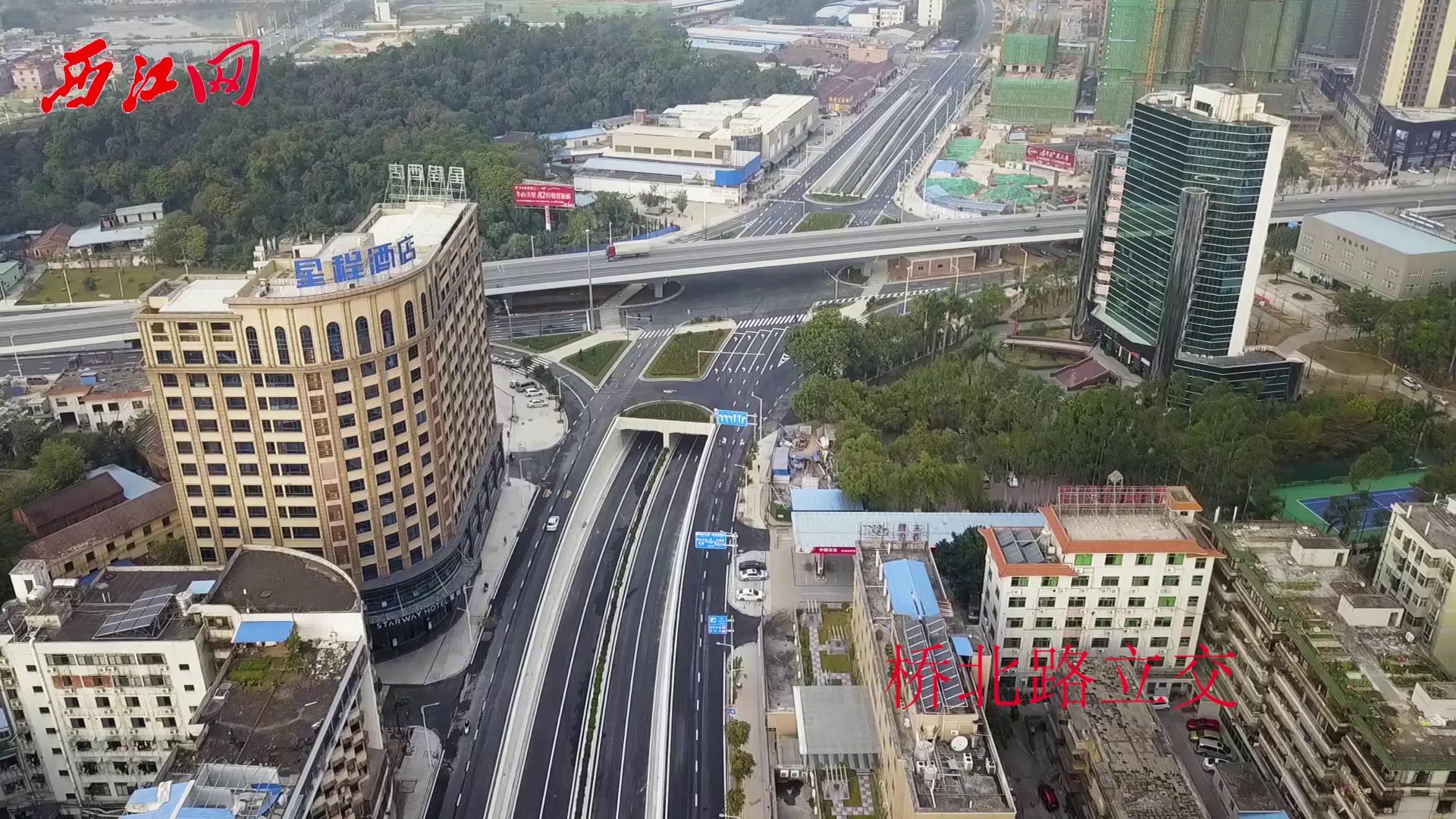 航拍大桥路、桥北路立交开通,肇庆城区交通大提速!