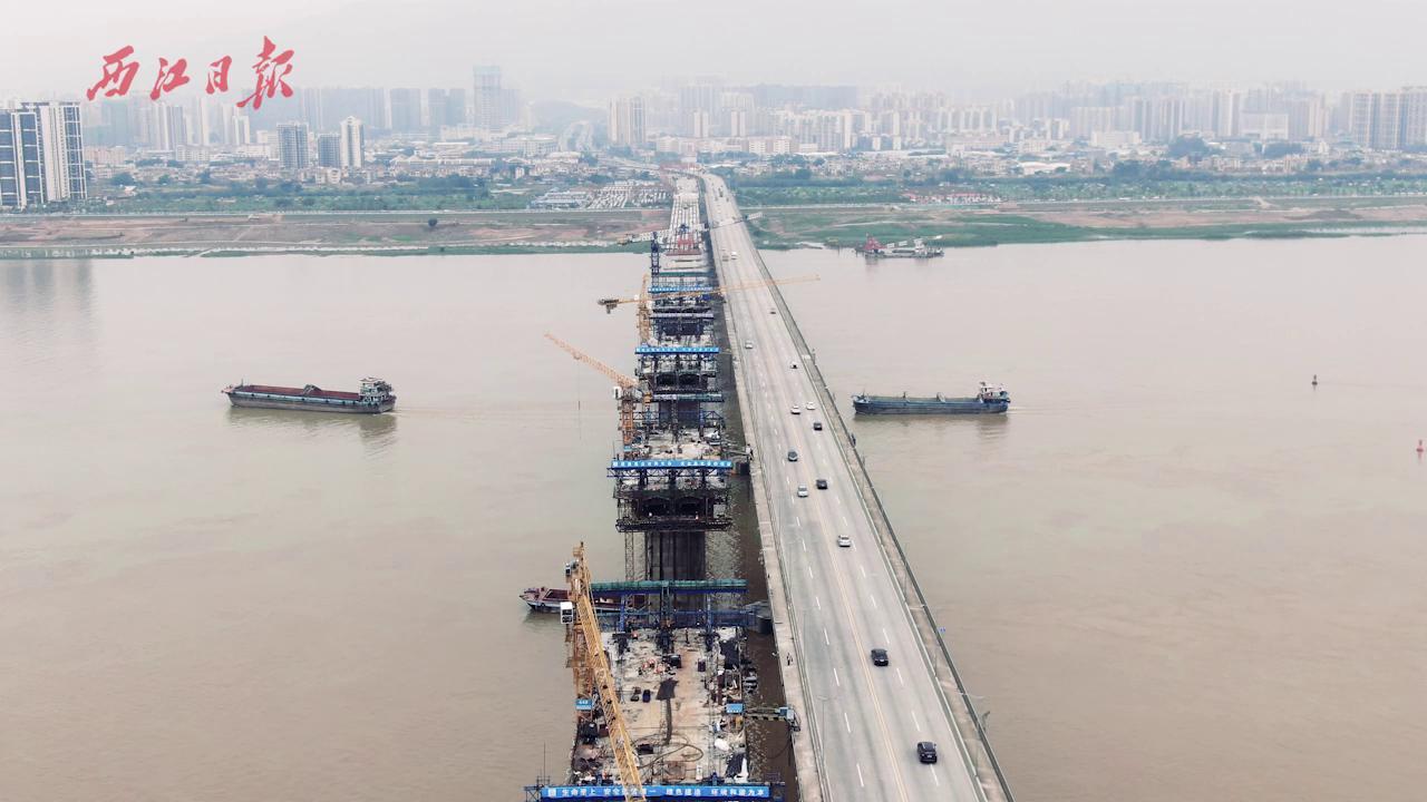 飞阅扩建中的肇庆大桥